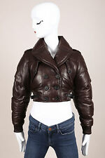Burberry Prorsum Brown Leather Puffer Cropped Jacket SZ 38
