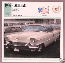1956 Cadillac Series 62 Hardtop Car Photo Spec Sheet Info Stat French Atlas Card