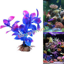 New Aquarium Fish Tank Purple Plastic Water Weeds Decor Ornament Plant Decor