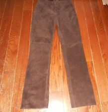 Bebe Genuine Leather Coffee Dark Brown Suede Pants Size 2