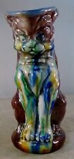 Old Vintage Majolica Figural CAT Pottery PITCHER