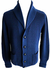 $1990 NEW TOM FORD Blue Shawl Collar Cardigan Pullover Sweater Size 52 Euro