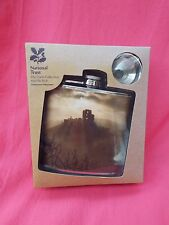 New Boxed Stainless Steel Hip Flask & Funnel National Trust CORFE CASTLE