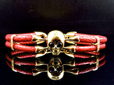 Yellow Gold Finish Simulated Lab Diamond Red Leather Skull Band Bracelet In 8""