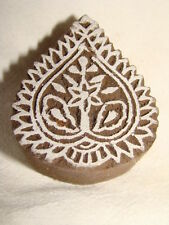 SHEESHAM WOOD INDIAN PAISLEY SHAPED CRAFT PRINT BLOCK,  HANDCARVED, NEW, UNUSED