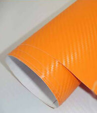 3D Folie Carbonfolie Klebefolie ORANGE Carbon f. Auto, laptop, Handy 10 x 100cm