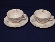 Vintage Pope Gosser Fleurette Blue Floral 2 Cups & 2  Saucers Gold Trim