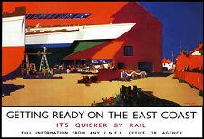 Preparándose en la costa este más rápido por Ferrocarril Tren Ferrocarril viajar cartel impresión