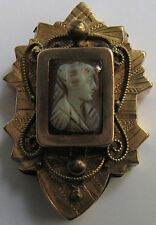 ANTIQUE VICTORIAN GOLD FILL CARVED CAMEO SLIDE PENDANT