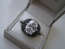 FABULOUS BIG LARGE OVERSIZED STERLING SILVER DIAMOND LOOKLIKE RING SIZE L RARE