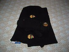 WOMENS REEBOK CHICAGO BLACKHAWKS WINTER SCARF HAT AND MITTENS SET BLACK  NWT
