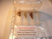 60 assorted 3.5mm Brass, Silver & Copper HEAD BEADS (in box) for Fly Tying (1F)