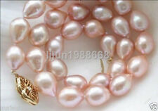 new 11-13MM AAA GENUINE NATURAL AKOYA PINK PEARL NECKLACE 14K GOLD CLASP 18 INCH