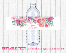Pink Watercolor Flowers Water Bottle Labels Printable Editable PDF