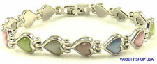 Alloy Magnetic  Bracelet Silver Plated Multi-Colored Cat's Eye Hearts HCEMULTIS