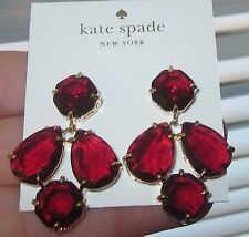 KATE SPADE RARE KALEIDOSCOPE RUBY RED GEM COATED SETTING DROP JEWELED EARRINGS