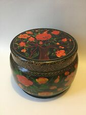 Ornamental Tin with Flowers, Birds and Tree - Looks Old / Vintage