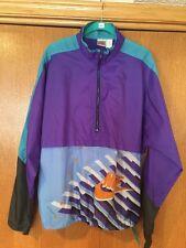 A41 Vintage 80s 90s Nike Windbreaker - Mens Large Purple Teal Half Zip Geometric