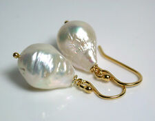 12x17mm AA++ quality white ripple freshwater pearl & gold vermeil earrings
