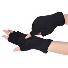 Herren Fahrhandschuhe Gestrickt Stretch Elastisch Warm Halb Finger Fingerlose