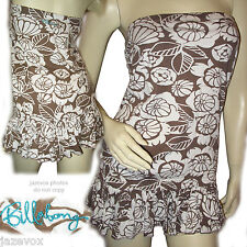 BILLABONG Women Junior WHITE BROWN FLORAL FLOWERS Print Printed TUBE TOP Blouse
