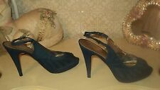 NINE WEST BLUE OPEN TOE CHIFFON PLATFORM SLINGBACK STILETTO*EU37,5*US6,5*UK4,5