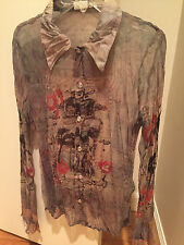 NWOT Love Amour sheer tan red black pattern blouse mirror buttons silk collar cu