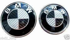 2x BMW BLACK CARBON Bonnet+Boot Emblem 82mm+74mm fits E30 E36 E46 3 5 7 X Series