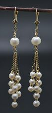 #BE103 New 14K Solid Gold Cultured White Pearl Chandelier Earrings