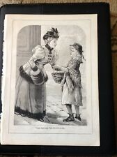 K3-7 Ephemera Book Plate 1896 Girl Selling Trinkets In The Street