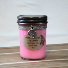 8 oz. Pink Sugar Handmade Natural Soy Wax Wood Wick Pink Candle