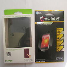 New REAL HTC One M8 Dot View Black /Gray Flip Smart Cover Case + ZAGG Screen NIB