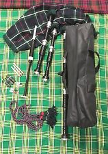 GREAT HIGHLAND BAGPIPES ROSEWOOD MACKENZIE TARTAN AND CORD METAL SILVER MOUNTS
