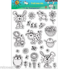 Penny Black Fresh New Day clear Stamps Spring Rabbit Flowers Butterflies Critter