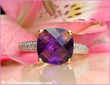 KLASSISCH ELEGANT: Feiner Amethyst Ring mit Diamanten, 3,35 ct. GG-585, 720€