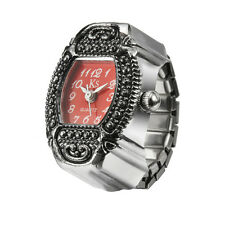Red Dial Retro Classic Metal Engraved Bezel Finger Ring Watch Quartz Lady Girl