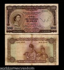 CEYLON 100 RUPEES P53 1954 QUEEN WOMAN CURRENCY MONEY BILL SRI LANKA BANK NOTE