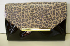 Anne Klein Leopard Animal Print Envelope Clutch Shoulder Bag Handbag Purse