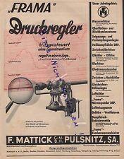 Pulsnitz, Pubblicità 1938, F. Mattick GmbH Frama regolatore di pressione
