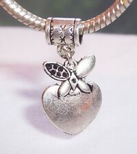 Apple Heart Fruit Food Teacher Dangle Bead Gift fits European Charm Bracelets