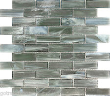 Sample Gray Stained Glass Mosaic Tile Kitchen Backsplash Wall Faucet Floor Spa