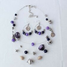 "20"" New Chicos Multi-strands Necklace Earrings Jewelry Sets Fashion Resin Stone"