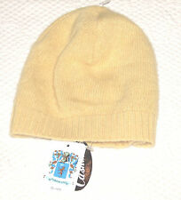 Portolano Light  Butter Yellow 100% Cashmere Beanie Hat Ladies OSZ