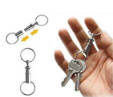 2pcs Detachable Pull Apart Quick Release Keychain Key Rings Two Split Rings New