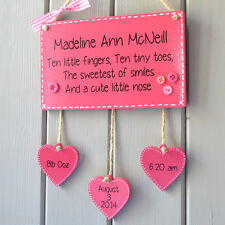 Baby birth keepsake Boy Girl Plaque sign baby name birth weight, date and time