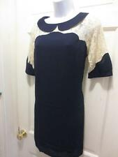 NEW ! ASOS RETRO INSPIRED Navy & Creme LACE Peter Pan Collar DRESS 8 M Medium