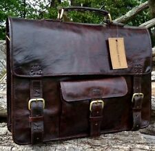 HANDMADE SERGUIO ROGETTI DESIGNER RUSTIC LEATHER BRIEFCASE LAPTOP SATCHEL BAG