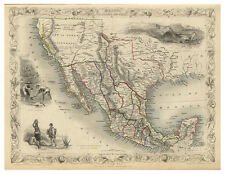 Mexico California Texas illustrated map Tallis ca.1851