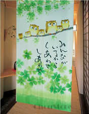 The Happiness Owl Family Pattern Japanese Noren Doorway Curtain 3E23