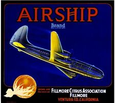 Fillmore Airship #1 Airplane Orange Citrus Fruit Crate Label Art Print